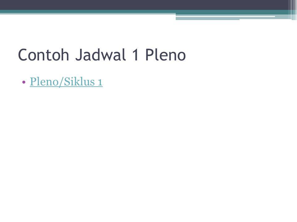 Contoh Jadwal 1 Pleno Pleno/Siklus 1