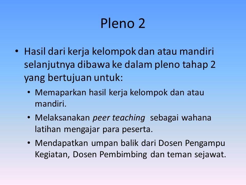 Pleno 2 Hasil dari kerja kelompok dan atau mandiri selanjutnya dibawa ke dalam pleno tahap 2 yang bertujuan untuk: Memaparkan hasil kerja kelompok dan atau mandiri.