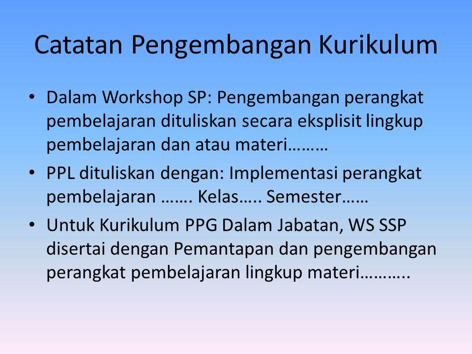 Catatan Pengembangan Kurikulum Dalam Workshop SP: Pengembangan perangkat pembelajaran dituliskan secara eksplisit lingkup pembelajaran dan atau materi……… PPL dituliskan dengan: Implementasi perangkat pembelajaran …….