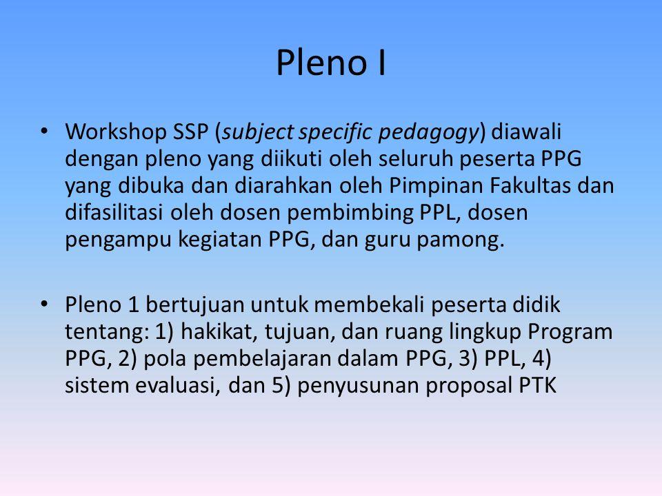 Pleno I Workshop SSP (subject specific pedagogy) diawali dengan pleno yang diikuti oleh seluruh peserta PPG yang dibuka dan diarahkan oleh Pimpinan Fakultas dan difasilitasi oleh dosen pembimbing PPL, dosen pengampu kegiatan PPG, dan guru pamong.