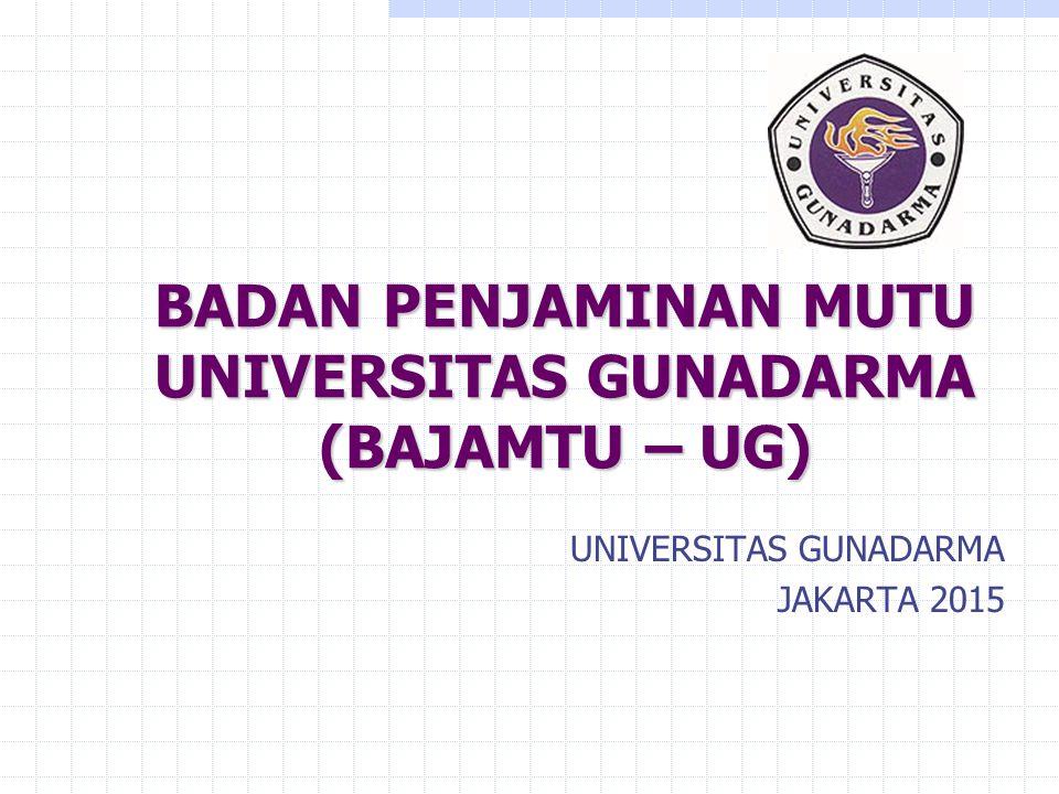 BADAN PENJAMINAN MUTU UNIVERSITAS GUNADARMA (BAJAMTU – UG) UNIVERSITAS GUNADARMA JAKARTA 2015