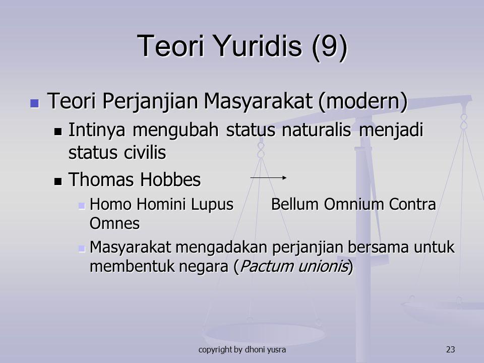 copyright by dhoni yusra23 Teori Yuridis (9) Teori Perjanjian Masyarakat (modern) Teori Perjanjian Masyarakat (modern) Intinya mengubah status natural