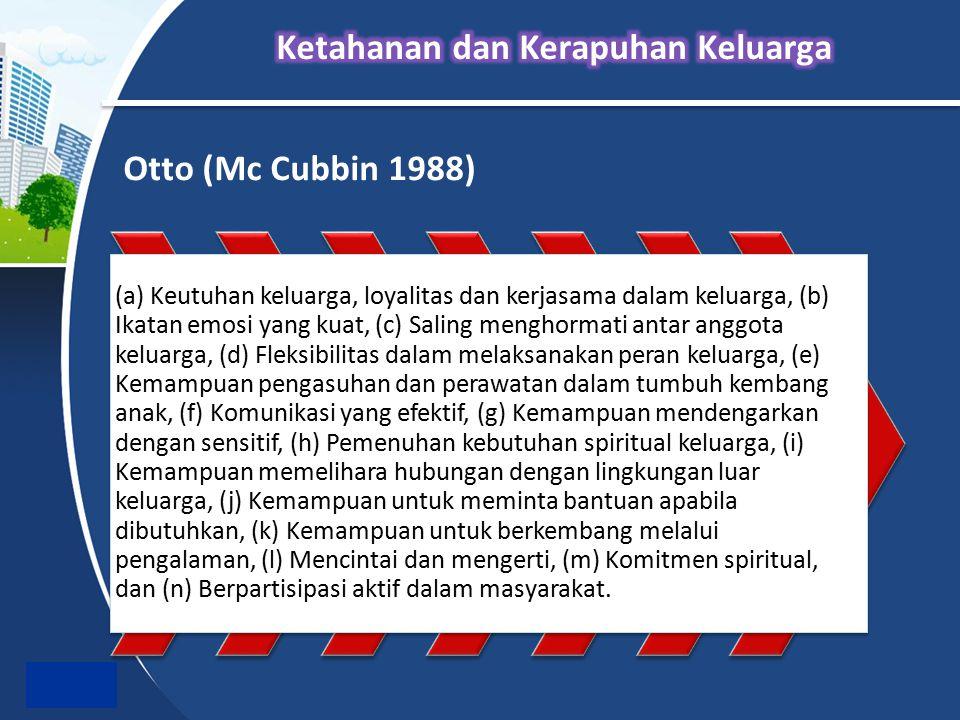 Otto (Mc Cubbin 1988) (a) Keutuhan keluarga, loyalitas dan kerjasama dalam keluarga, (b) Ikatan emosi yang kuat, (c) Saling menghormati antar anggota