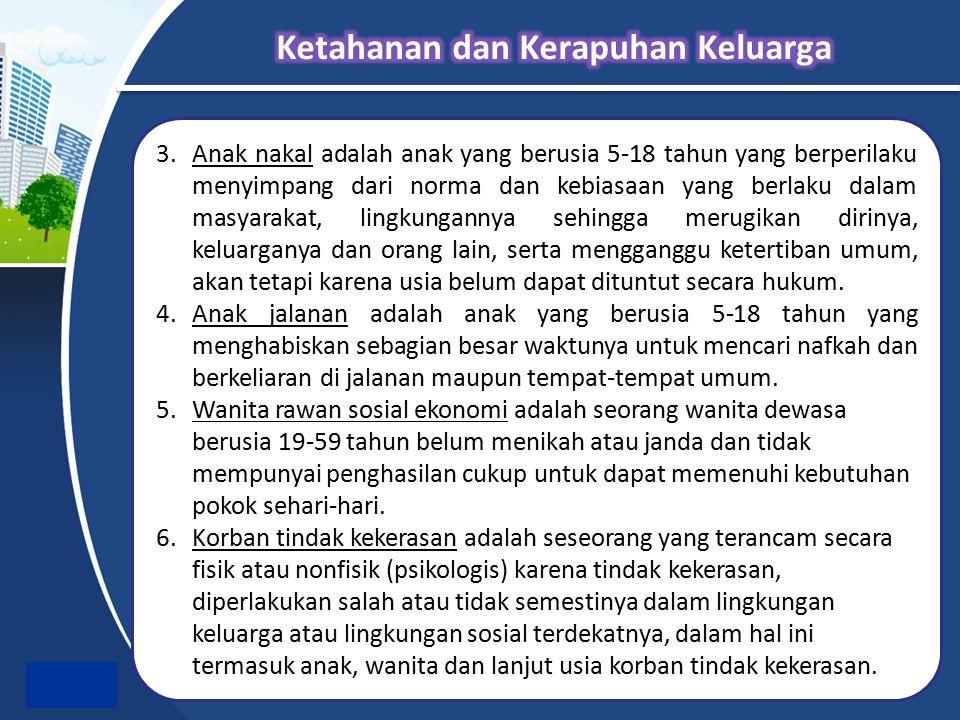 3.Anak nakal adalah anak yang berusia 5-18 tahun yang berperilaku menyimpang dari norma dan kebiasaan yang berlaku dalam masyarakat, lingkungannya seh