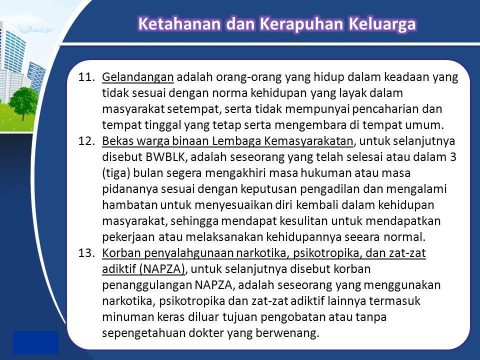 11.Gelandangan adalah orang-orang yang hidup dalam keadaan yang tidak sesuai dengan norma kehidupan yang layak dalam masyarakat setempat, serta tidak