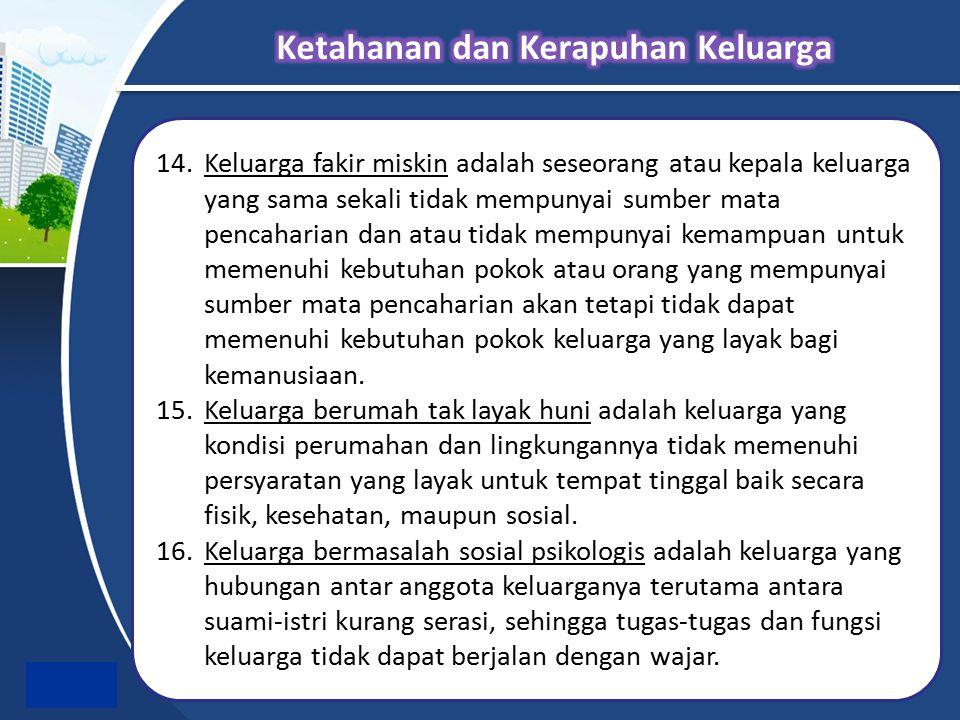 14.Keluarga fakir miskin adalah seseorang atau kepala keluarga yang sama sekali tidak mempunyai sumber mata pencaharian dan atau tidak mempunyai kemam