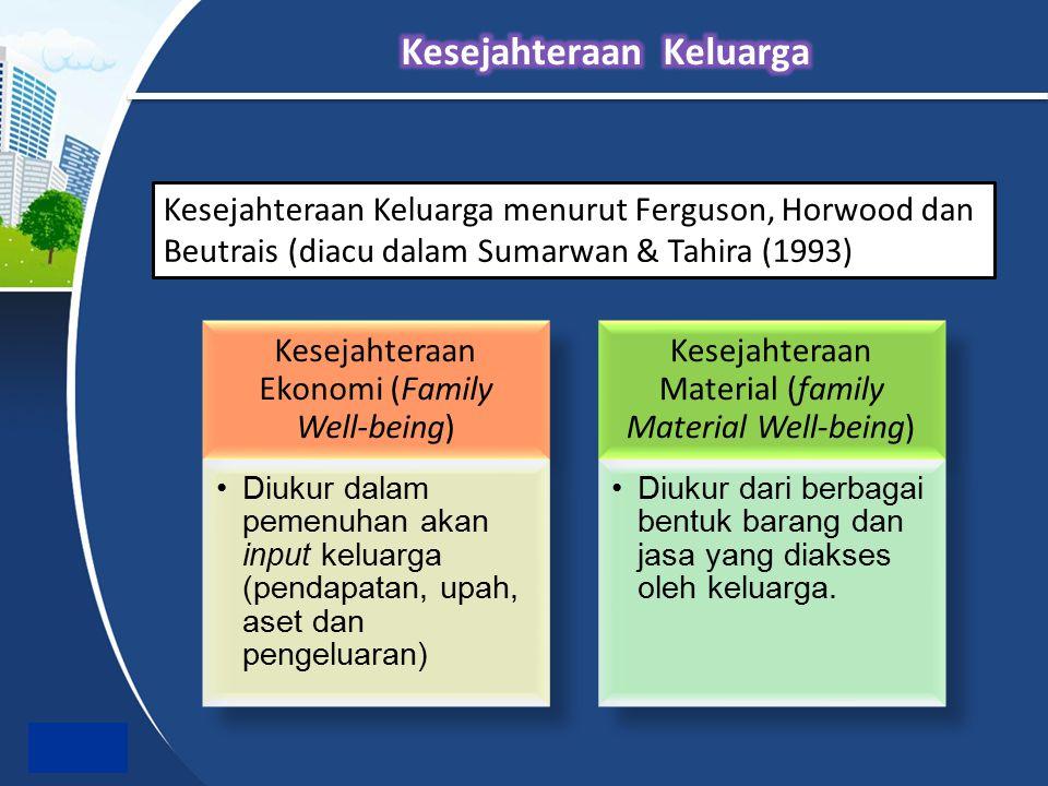 Kesejahteraan Keluarga menurut Ferguson, Horwood dan Beutrais (diacu dalam Sumarwan & Tahira (1993)