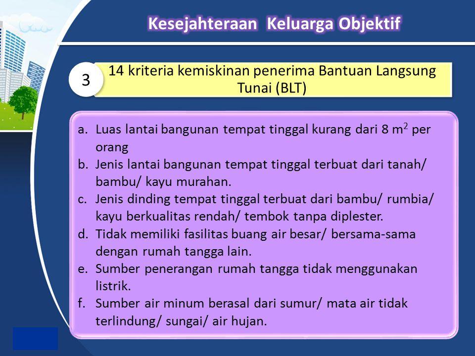14 kriteria kemiskinan penerima Bantuan Langsung Tunai (BLT) 3 a.Luas lantai bangunan tempat tinggal kurang dari 8 m 2 per orang b.Jenis lantai bangun