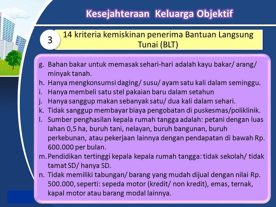 14 kriteria kemiskinan penerima Bantuan Langsung Tunai (BLT) 3 g.Bahan bakar untuk memasak sehari-hari adalah kayu bakar/ arang/ minyak tanah. h.Hanya