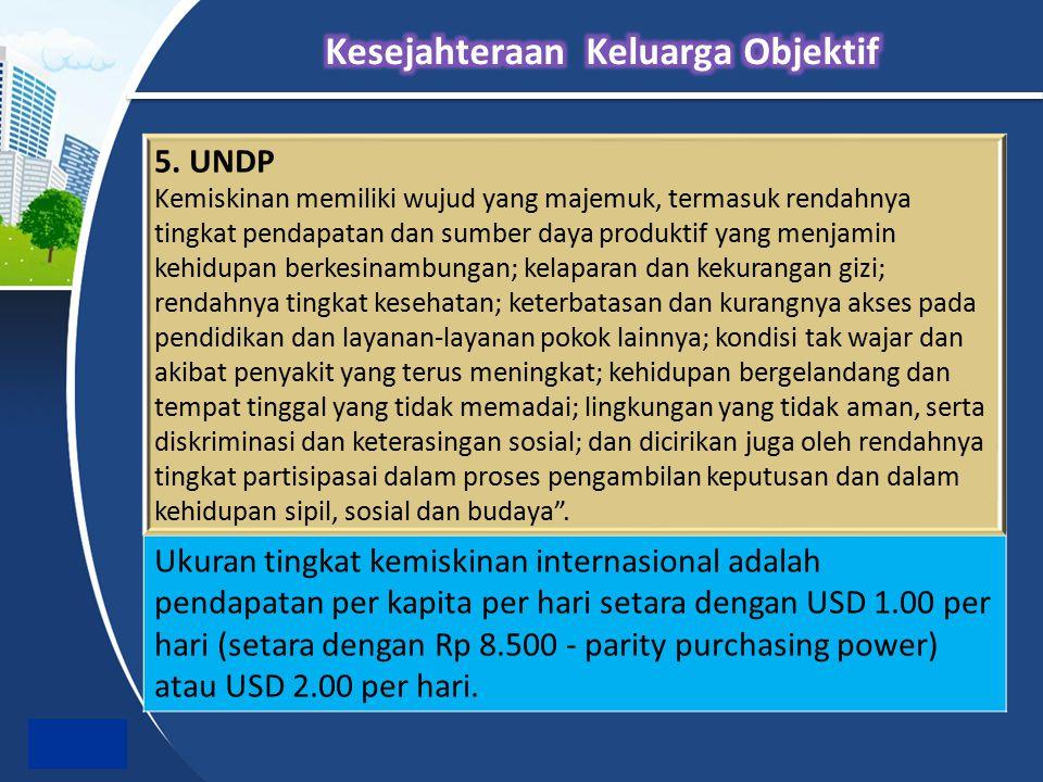 5. UNDP Kemiskinan memiliki wujud yang majemuk, termasuk rendahnya tingkat pendapatan dan sumber daya produktif yang menjamin kehidupan berkesinambung