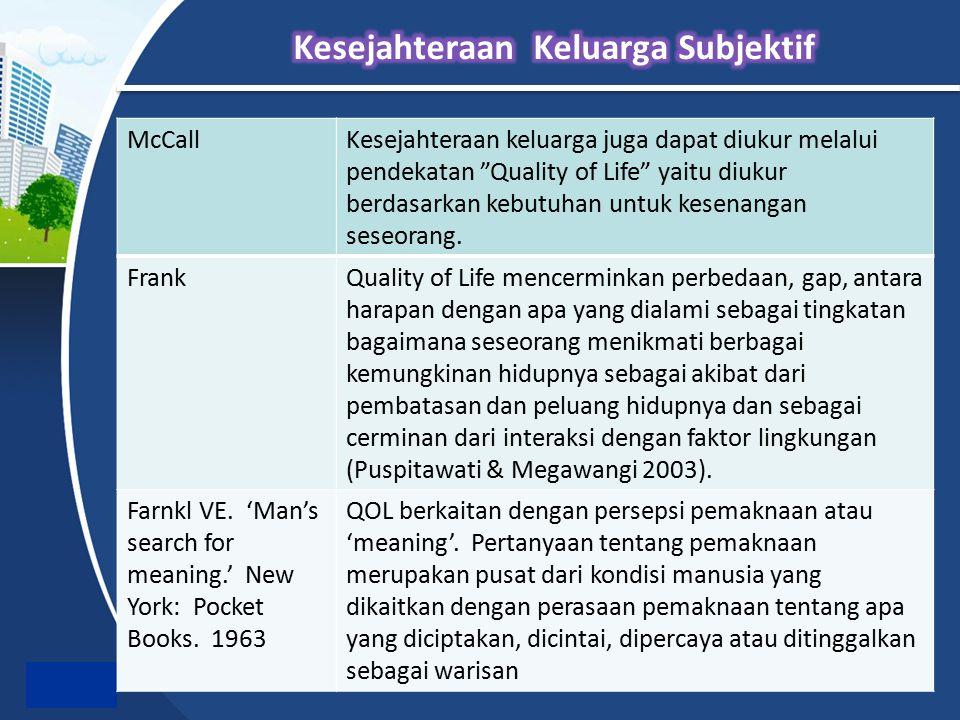 """McCallKesejahteraan keluarga juga dapat diukur melalui pendekatan """"Quality of Life"""" yaitu diukur berdasarkan kebutuhan untuk kesenangan seseorang. Fra"""
