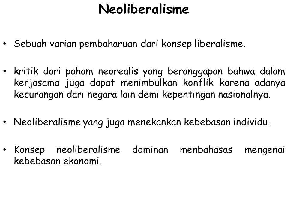 Neoliberalisme Sebuah varian pembaharuan dari konsep liberalisme. kritik dari paham neorealis yang beranggapan bahwa dalam kerjasama juga dapat menimb