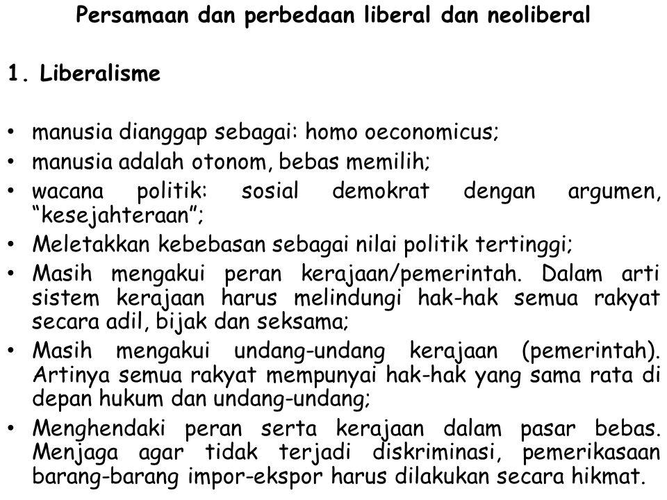 Persamaan dan perbedaan liberal dan neoliberal 1.Liberalisme manusia dianggap sebagai: homo oeconomicus; manusia adalah otonom, bebas memilih; wacana