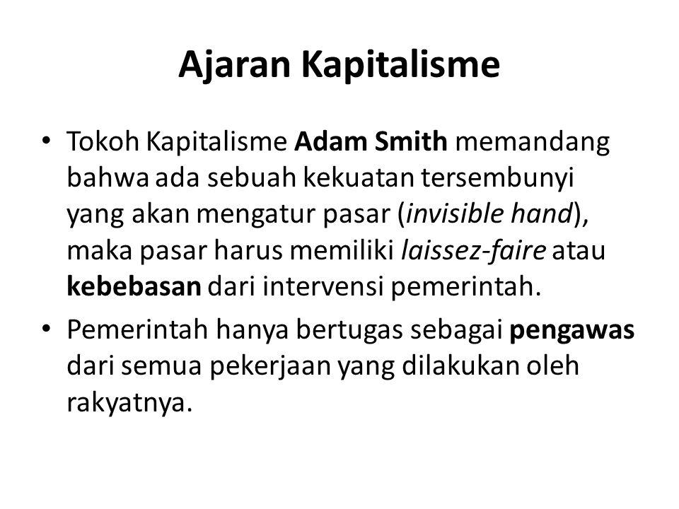 Ajaran Kapitalisme Tokoh Kapitalisme Adam Smith memandang bahwa ada sebuah kekuatan tersembunyi yang akan mengatur pasar (invisible hand), maka pasar