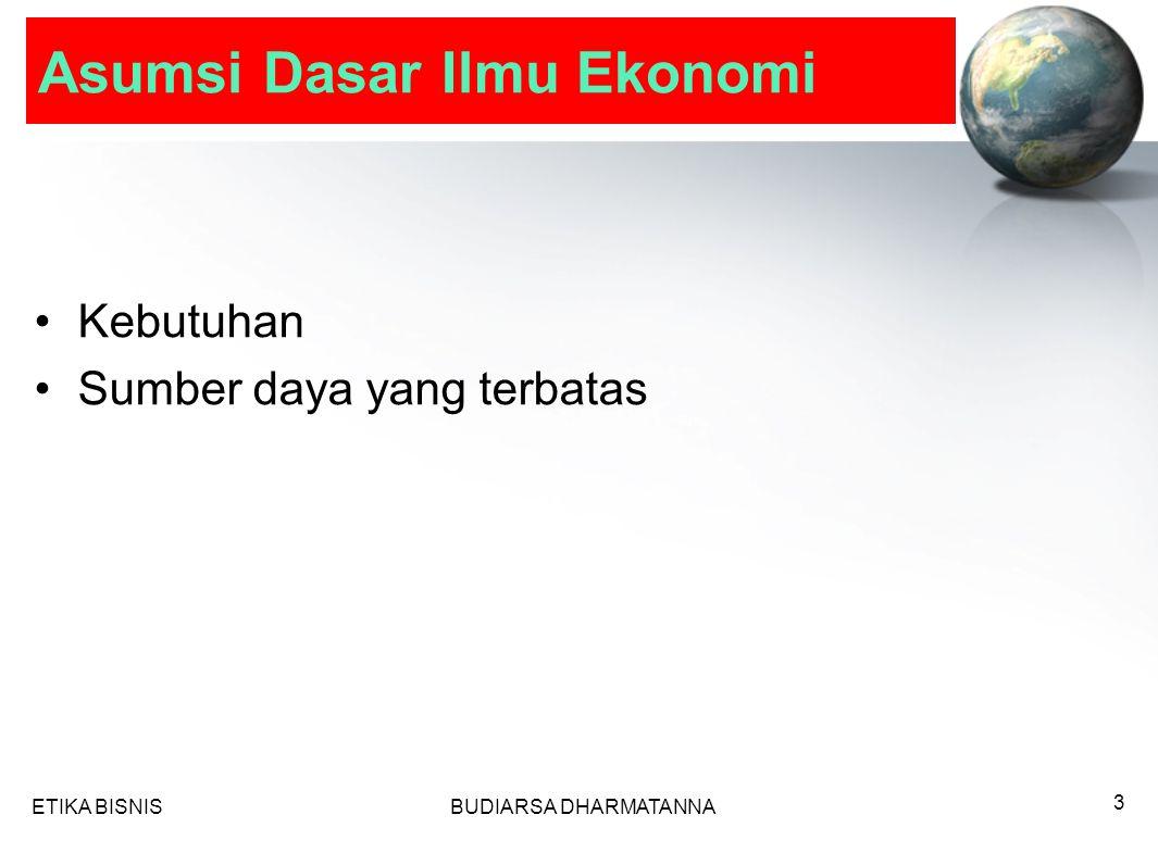 Asumsi Dasar Ilmu Ekonomi Kebutuhan Sumber daya yang terbatas ETIKA BISNISBUDIARSA DHARMATANNA 3