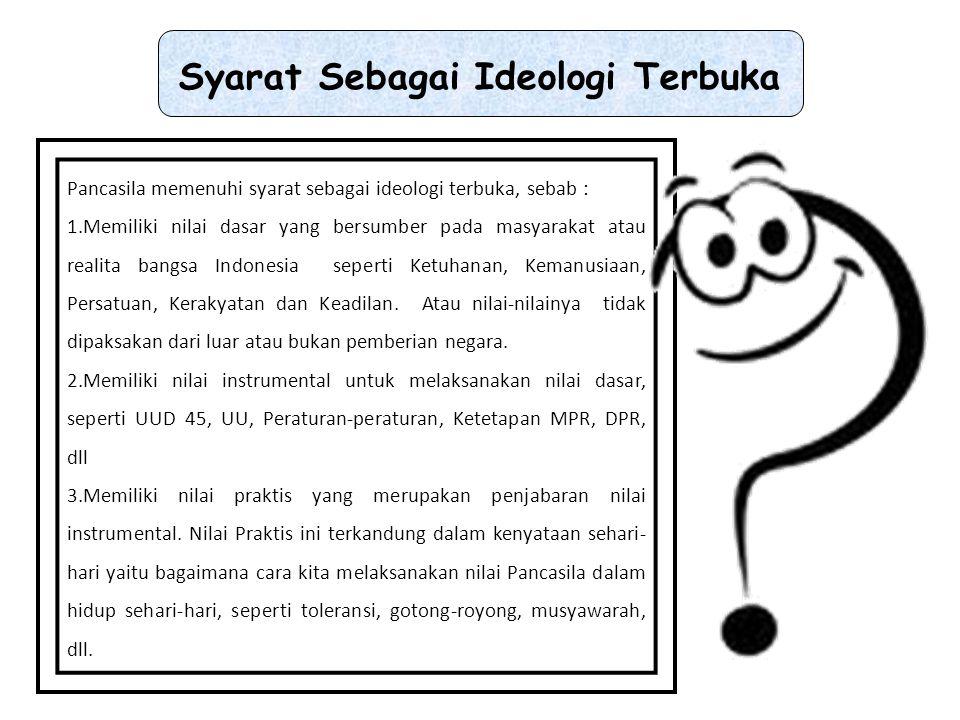Faktor yang mendorong pemikiran mengenai keterbukaan ideologi pancasila, adalah sebagai berikut: a.Kenyataan dalam proses pembangunan nasional dan dinamika masyarakat yang berkembang secara tepat.
