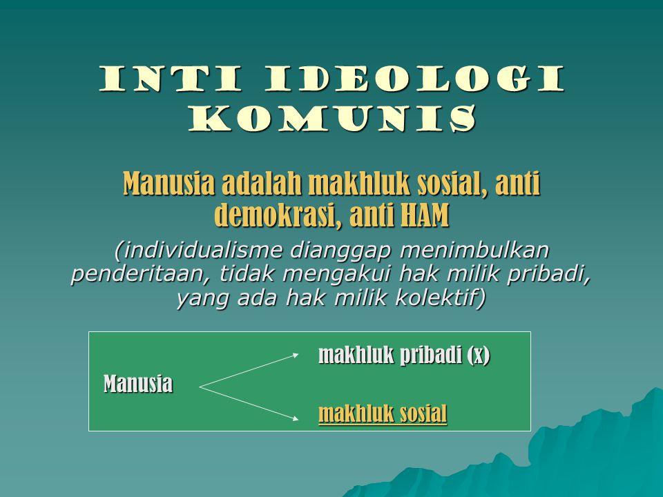 INTI IDEOLOGI komunis Manusia adalah makhluk sosial, anti demokrasi, anti HAM (individualisme dianggap menimbulkan penderitaan, tidak mengakui hak mil