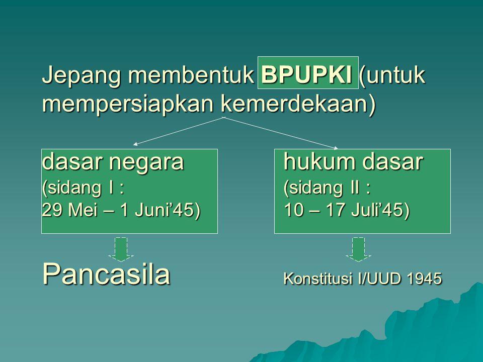 Jepang membentuk BPUPKI (untuk mempersiapkan kemerdekaan) dasar negarahukum dasar (sidang I :(sidang II : 29 Mei – 1 Juni'45)10 – 17 Juli'45) Pancasil