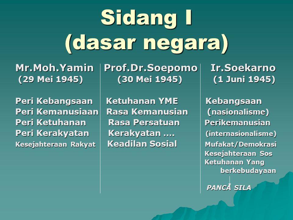 Sidang I (dasar negara) Mr.Moh.Yamin Prof.Dr.Soepomo Ir.Soekarno (29 Mei 1945) (30 Mei 1945) (1 Juni 1945) (29 Mei 1945) (30 Mei 1945) (1 Juni 1945) P