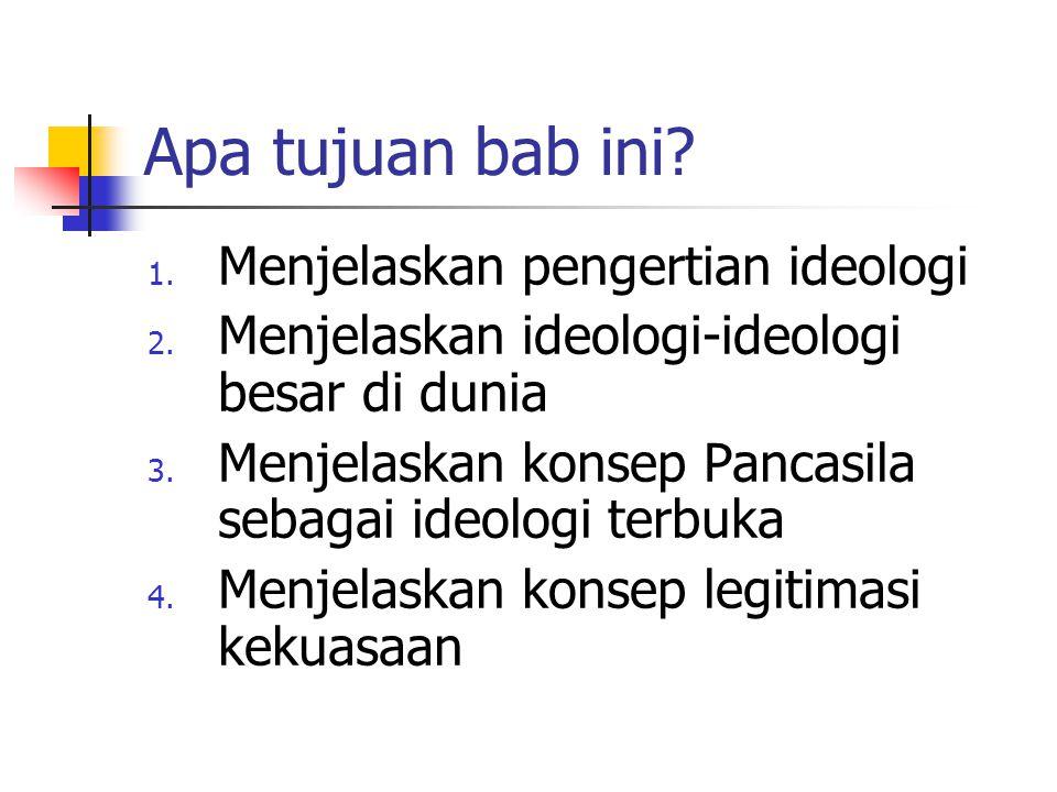 Apa tujuan bab ini? 1. Menjelaskan pengertian ideologi 2. Menjelaskan ideologi-ideologi besar di dunia 3. Menjelaskan konsep Pancasila sebagai ideolog