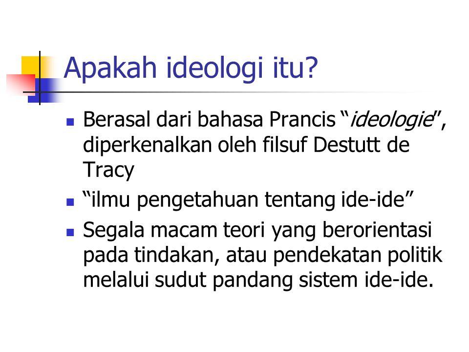 """Apakah ideologi itu? Berasal dari bahasa Prancis """"ideologie"""", diperkenalkan oleh filsuf Destutt de Tracy """"ilmu pengetahuan tentang ide-ide"""" Segala mac"""