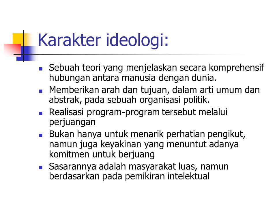 Karakter ideologi: Sebuah teori yang menjelaskan secara komprehensif hubungan antara manusia dengan dunia. Memberikan arah dan tujuan, dalam arti umum