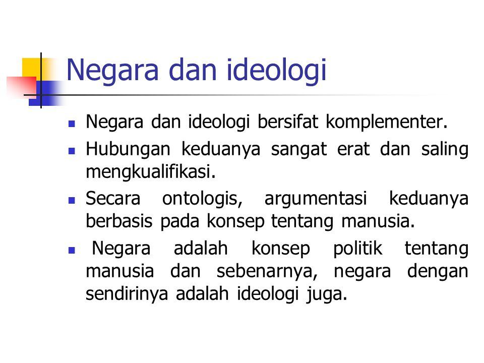 Negara dan ideologi Negara dan ideologi bersifat komplementer. Hubungan keduanya sangat erat dan saling mengkualifikasi. Secara ontologis, argumentasi