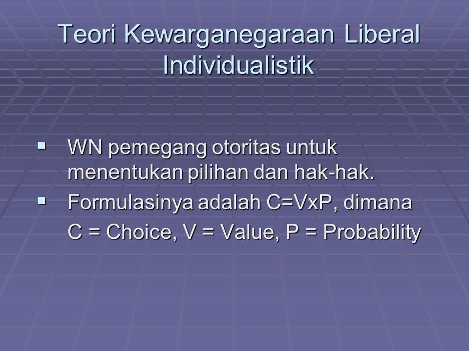 Teori Kewarganegaraan Liberal Individualistik WWWWN pemegang otoritas untuk menentukan pilihan dan hak-hak. FFFFormulasinya adalah C=VxP, dima