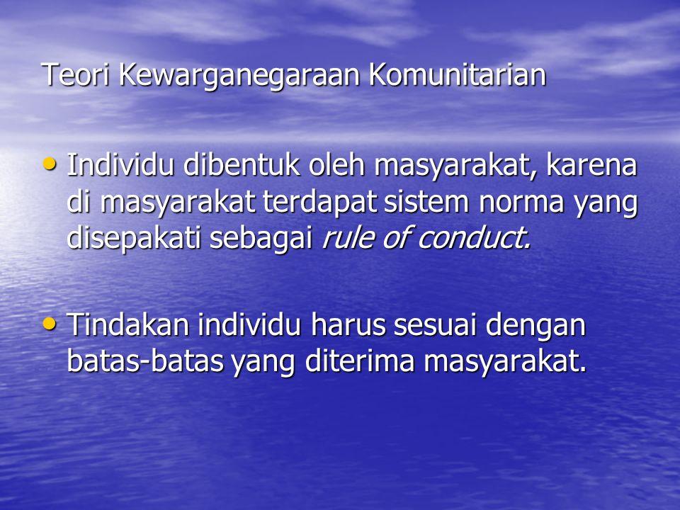 Teori Kewarganegaraan Komunitarian Individu dibentuk oleh masyarakat, karena di masyarakat terdapat sistem norma yang disepakati sebagai rule of conduct.