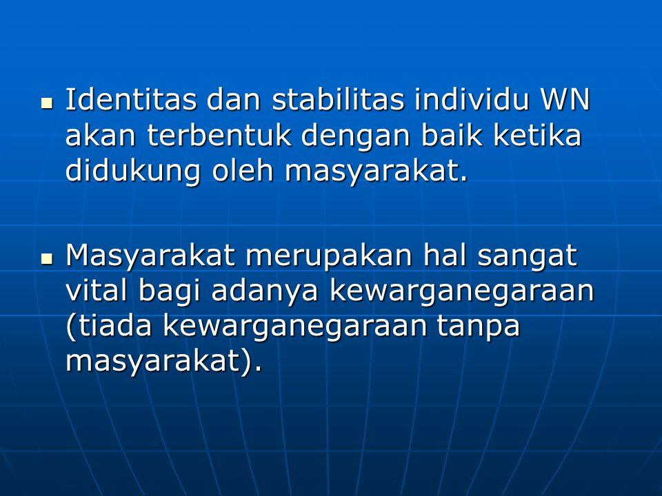 Identitas dan stabilitas individu WN akan terbentuk dengan baik ketika didukung oleh masyarakat. Identitas dan stabilitas individu WN akan terbentuk d