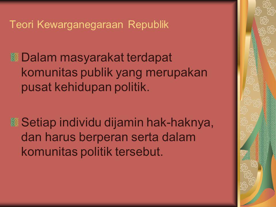 Teori Kewarganegaraan Republik Dalam masyarakat terdapat komunitas publik yang merupakan pusat kehidupan politik. Setiap individu dijamin hak-haknya,