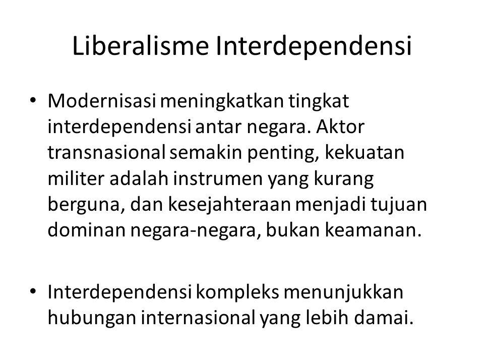 Liberalisme Interdependensi Modernisasi meningkatkan tingkat interdependensi antar negara. Aktor transnasional semakin penting, kekuatan militer adala