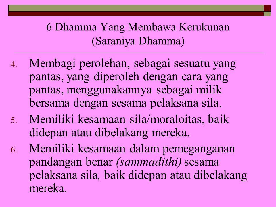 6 Dhamma Yang Membawa Kerukunan (Saraniya Dhamma) 4. Membagi perolehan, sebagai sesuatu yang pantas, yang diperoleh dengan cara yang pantas, menggunak