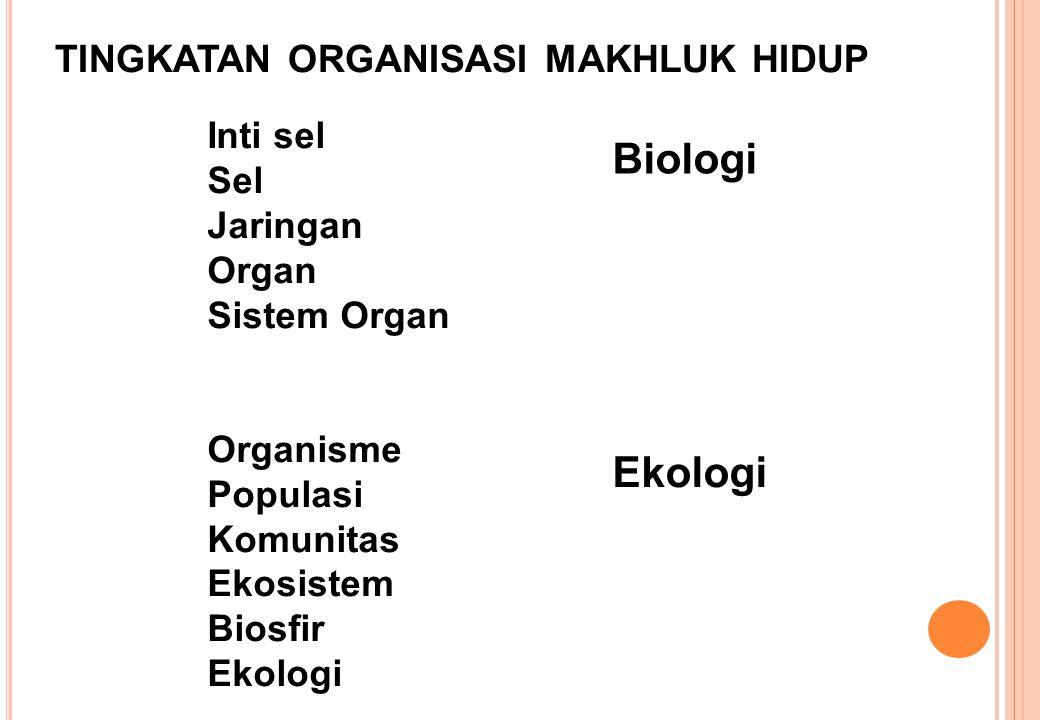 Inti sel Sel Jaringan Organ Sistem Organ Organisme Populasi Komunitas Ekosistem Biosfir Ekologi Biologi Ekologi TINGKATAN ORGANISASI MAKHLUK HIDUP