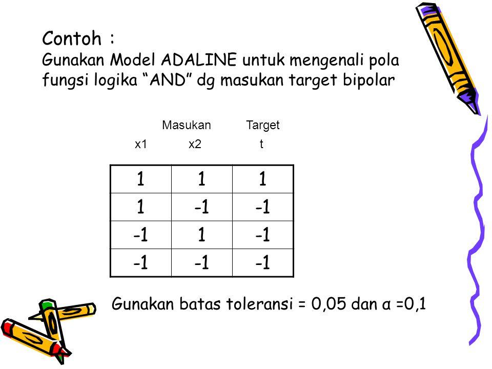 Penyelesaian α =0,1, maka perubahan bobot = Δ wi = 0,1(t-(f(net))xi= 0,1(t-y)xi y = f(net) = net Masukan Perubahan Bobot Bobot Baru (x 1 x 2 1) t net f(net) t-y (Δw 1 Δw 2 Δb) (w 1 w 2 bias) Inisialisasi ( 0 0 0 ) (1 1 1) 1 0 0 1 (0,1 0,1 0,1 ) (0,1 0,1 0,1 ) (1 -1 1) -1 0,1 0,1 -1,1 (-0,11 0,11 -0,11) (-0,01 0,21 -0,01) (-1 1 1) -1 0,21 0,21 -1,21 (0,12 -0,12 -0,12) (0,11 0,09 -0,13) (-1 -1 1) -1 -0,33 -0,33 -0,67 (0,07 0,07 -0,07) (0,18 0,16 -0,2 ) Maks(Δ wi)=0,07 karena > toleransi, maka dilanjutkan dengan epoch kedua