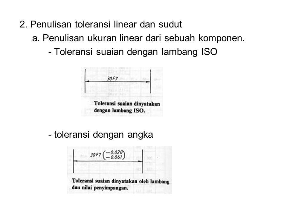 2. Penulisan toleransi linear dan sudut a. Penulisan ukuran linear dari sebuah komponen. - Toleransi suaian dengan lambang ISO - toleransi dengan angk