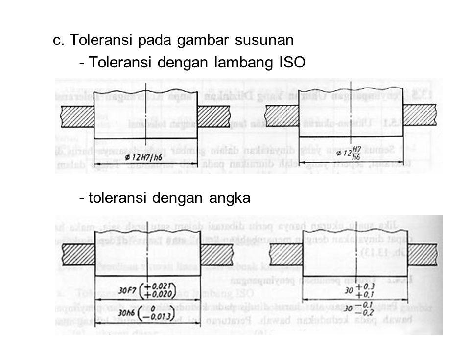 c. Toleransi pada gambar susunan - Toleransi dengan lambang ISO - toleransi dengan angka