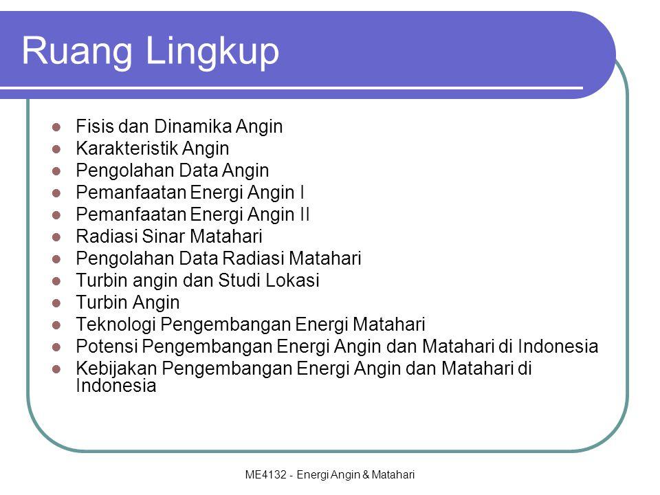 ME4132 - Energi Angin & Matahari Ruang Lingkup Fisis dan Dinamika Angin Karakteristik Angin Pengolahan Data Angin Pemanfaatan Energi Angin I Pemanfaatan Energi Angin II Radiasi Sinar Matahari Pengolahan Data Radiasi Matahari Turbin angin dan Studi Lokasi Turbin Angin Teknologi Pengembangan Energi Matahari Potensi Pengembangan Energi Angin dan Matahari di Indonesia Kebijakan Pengembangan Energi Angin dan Matahari di Indonesia