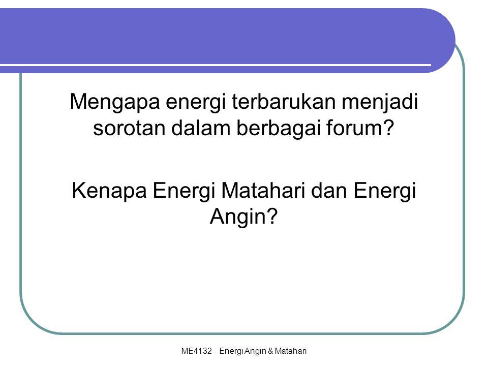 ME4132 - Energi Angin & Matahari Mengapa energi terbarukan menjadi sorotan dalam berbagai forum? Kenapa Energi Matahari dan Energi Angin?