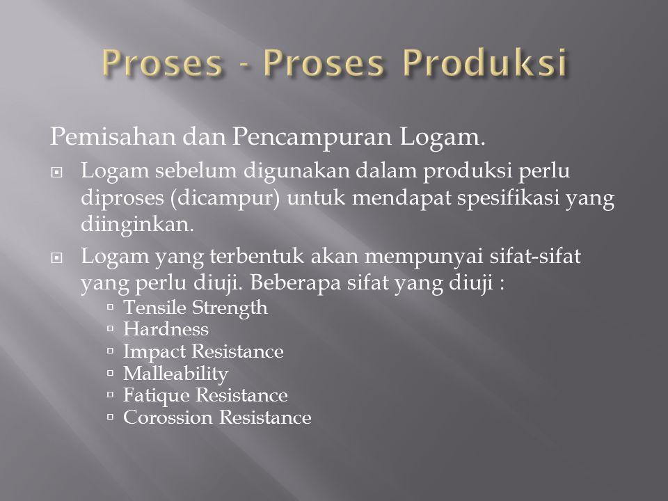 Pemisahan dan Pencampuran Logam.  Logam sebelum digunakan dalam produksi perlu diproses (dicampur) untuk mendapat spesifikasi yang diinginkan.  Loga