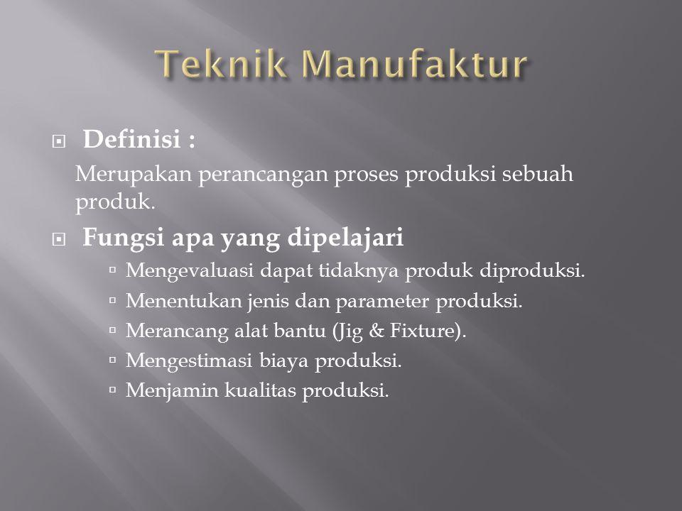  Definisi : Merupakan perancangan proses produksi sebuah produk.  Fungsi apa yang dipelajari  Mengevaluasi dapat tidaknya produk diproduksi.  Mene