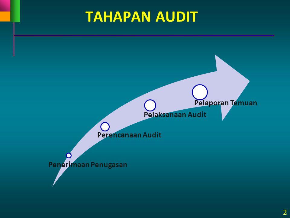 2 TAHAPAN AUDIT Penerimaan Penugasan Perencanaan Audit Pelaksanaan Audit Pelaporan Temuan