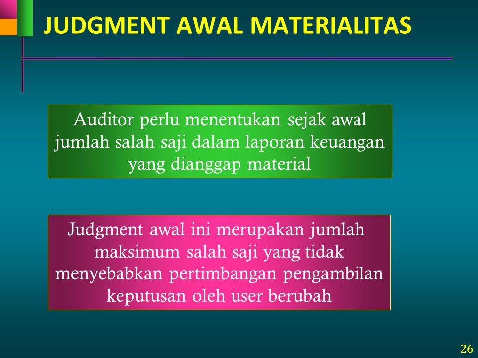 26 JUDGMENT AWAL MATERIALITAS Judgment awal ini merupakan jumlah maksimum salah saji yang tidak menyebabkan pertimbangan pengambilan keputusan oleh us