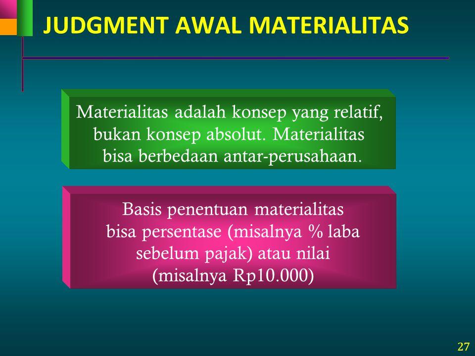 27 Materialitas adalah konsep yang relatif, bukan konsep absolut. Materialitas bisa berbedaan antar-perusahaan. Basis penentuan materialitas bisa pers
