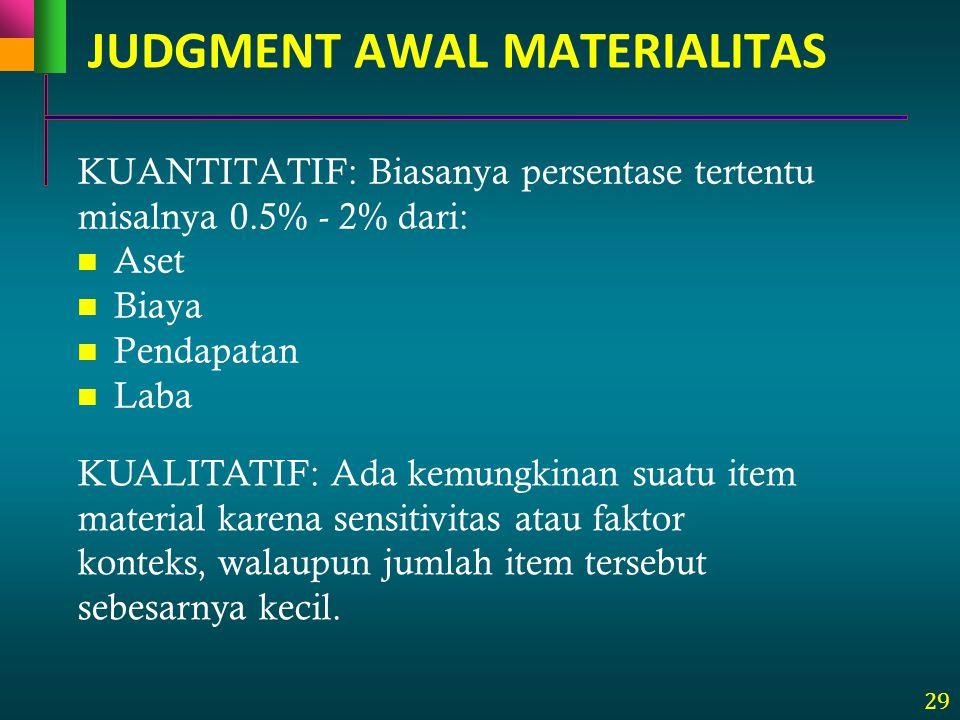 29 KUANTITATIF: Biasanya persentase tertentu misalnya 0.5% - 2% dari: Aset Biaya Pendapatan Laba KUALITATIF: Ada kemungkinan suatu item material karen