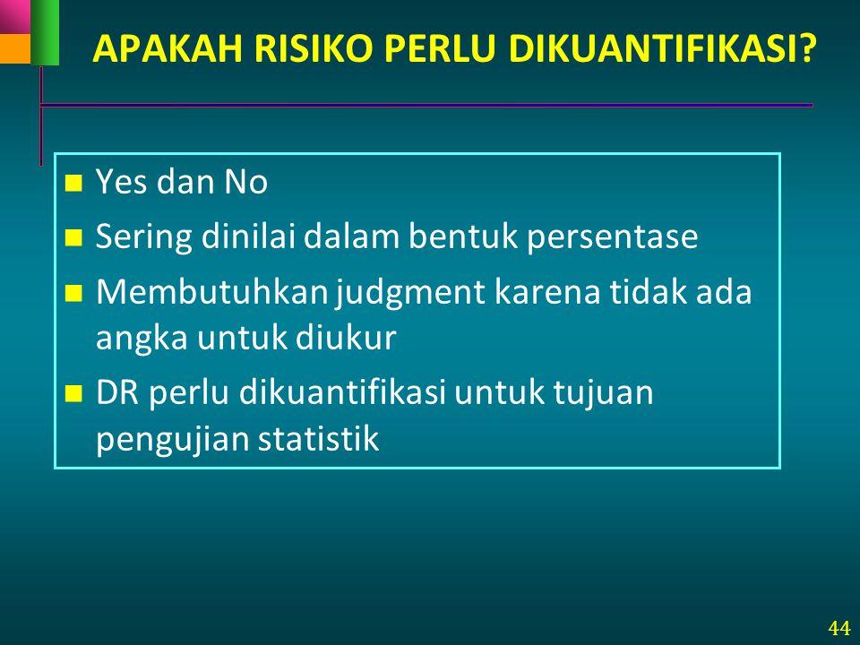 44 APAKAH RISIKO PERLU DIKUANTIFIKASI? Yes dan No Sering dinilai dalam bentuk persentase Membutuhkan judgment karena tidak ada angka untuk diukur DR p