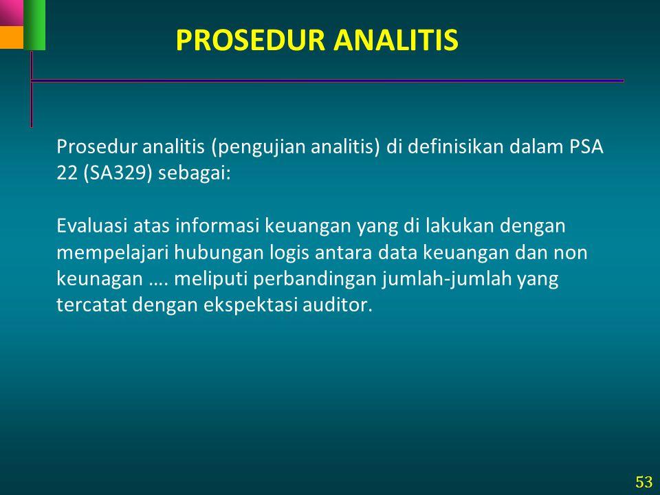 53 Prosedur analitis (pengujian analitis) di definisikan dalam PSA 22 (SA329) sebagai: Evaluasi atas informasi keuangan yang di lakukan dengan mempela