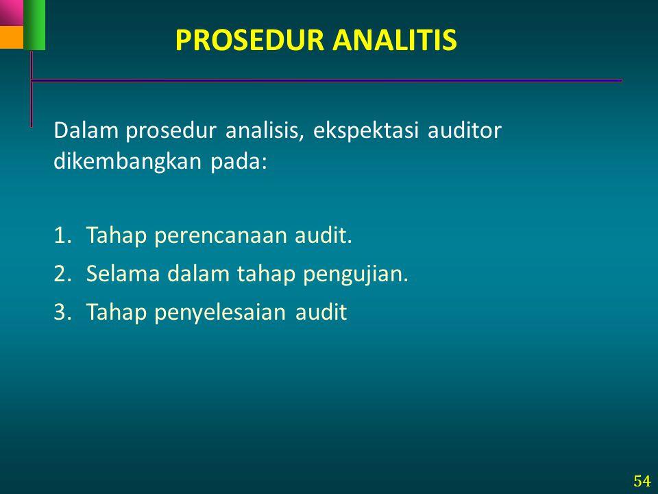 54 Dalam prosedur analisis, ekspektasi auditor dikembangkan pada: 1.Tahap perencanaan audit. 2.Selama dalam tahap pengujian. 3.Tahap penyelesaian audi