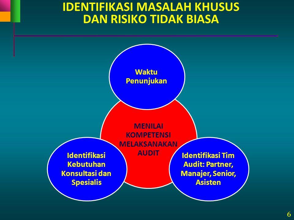 6 IDENTIFIKASI MASALAH KHUSUS DAN RISIKO TIDAK BIASA MENILAI KOMPETENSI MELAKSANAKAN AUDIT Waktu Penunjukan Identifikasi Tim Audit: Partner, Manajer,