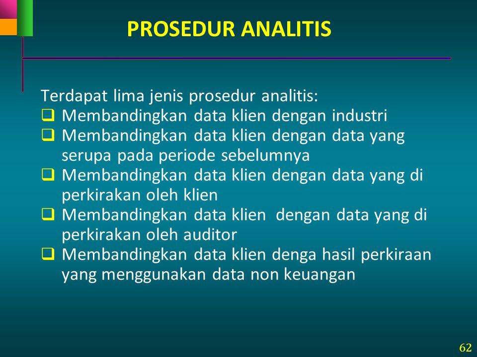 62 Terdapat lima jenis prosedur analitis:  Membandingkan data klien dengan industri  Membandingkan data klien dengan data yang serupa pada periode s